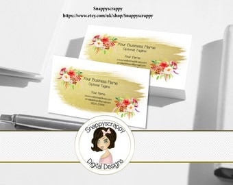 Business Cards, Premade Business Card, Printable Business Card, Digital Business Card Template -  Gold, Floral