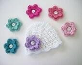 Baby Girl Hat, Pick 6 Flowers, Toddler Hat, Baby Shower Gift, Newborn Hat, Newborn Photo Prop, Baby Girl, Baby Girl Beanie, Coming Home Hat