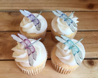 Dragonflies, Dragonfly, Cupcake Toppers, Cake Toppers, Wafer Paper, Food Safe, choose amount