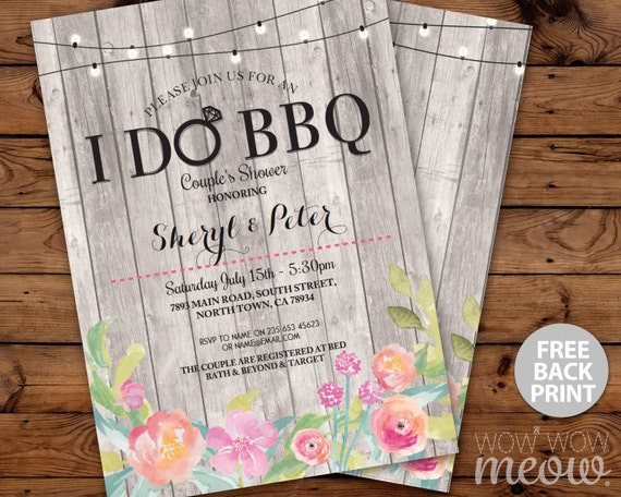 I DO BBQ Floral Invitation