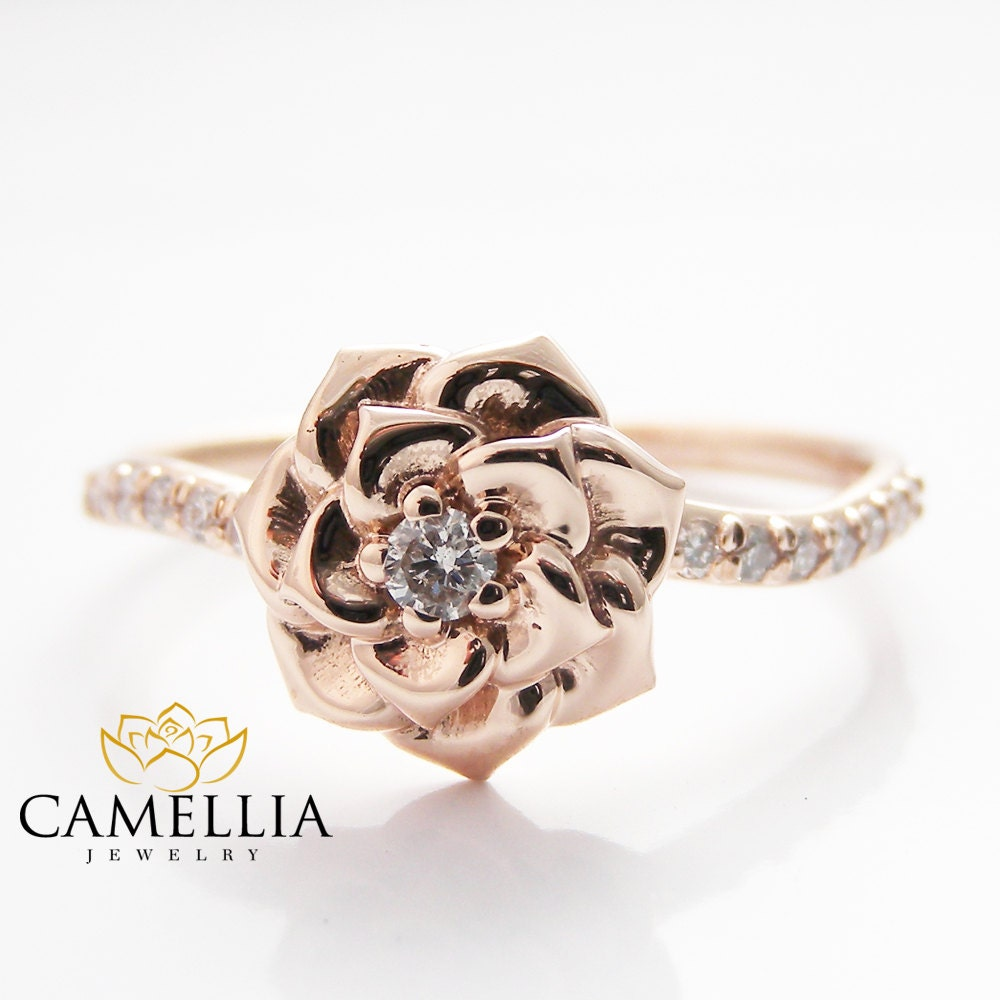 Camellia Flower Ring 14k Rose Gold Diamond Ring Rose Gold. Rose Gold Necklace. Style Beads. Costume Gold Jewellery. Drawing Watches