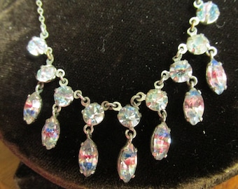 Gorgeous vintage Art Deco Iris / rainbow glass necklace.