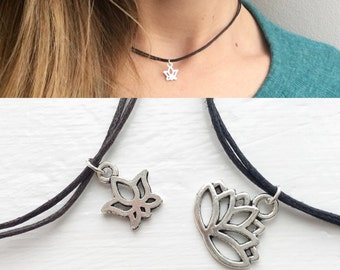 Lotus flower charm choker necklace, lotus necklace, lotus flower, lotus flower jewellery, nature jewellery by Serenity Project