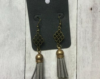 Light grey leather tassel earrings