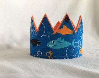 Shark Crown, Under the Sea Birthday Party, Ocean Party, Ocean Party Crown, Shark Birthday Party, Shark Birthday Party Hat, Shark Party Hat