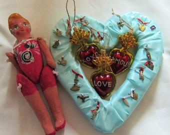 Sacred Heart Milagro - 3 Hearts- LOVE - AMOUR - XOXO  Ornaments