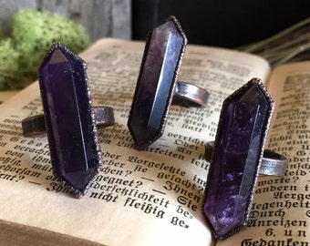 Crystal Ring Amethyst Crystal Wand Ring / Natural Stone Ring / Gypsy Ring / Handmade Electroformed Ring Purple Amethyst Crystal Ring 6 7 8 9