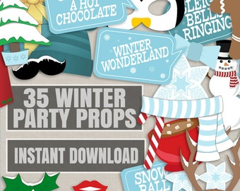 35 Winter Wonderland photobooth props, winter party props, printable winter holidays party, wintery wonderland, diy christmas party blue
