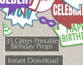 35 Birthday Prop Printable speech bubbles, color blue, purple glitter, party props, bday photo booth props, diy photobooth, red props, diy