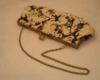 Vintage Evening Purse - Black, Beige and Gold Colors