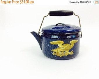 Vintage enamel teapot blue enamel teapot enamelware teapot vintage blue teapot vintage teapot blue vintage enamel kettle blue kettle