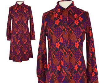 Vintage Dress, 1970s Dress, 70s Dress, Purple and Red Shirt Dress, Psychedelic Dress, Shirt Dress, Geometric Dress, 70s Floral Dress, Medium