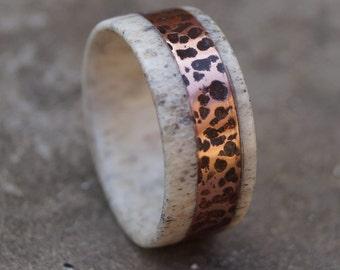 Deer Antler Ring, Copper Ring, Rustic Copper Ring, Wedding Ring