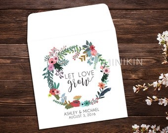 Wedding Seed Packets, Seed Favor, Let Love Grow, Wedding Favor, Boho Wedding Favor, Seed Packet, Wildflower Seeds, Seed Packet Favor x 25