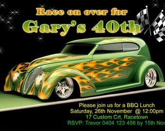 Hot Rod Birthday Invite - Any Age - 4x6 or 5x7 size - You Print and Save