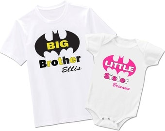 Big Brother Little Sister Matching Batman - Each Sold Seperately  - Bodysuit or T-Shirt