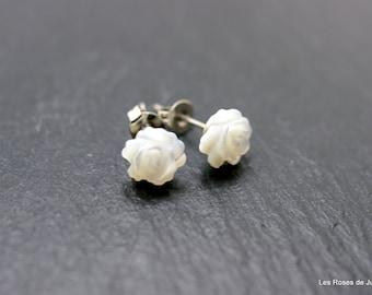 Earrings sculptured rose