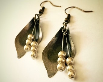 Brass and Pearl, Flower and Petal Dangle Earrings