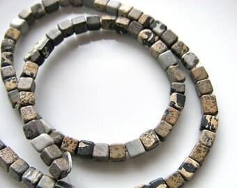 Artistic Jasper cubes, 13 inch strand, 82 beads, 4mm - 381