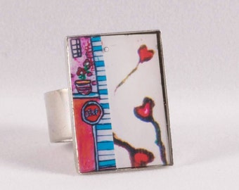 Lance heart ring adjustable stainless steel also available pendant