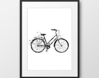 Bicycle Print, Bike Print, Bike Watercolor, Black and White Bicycle Print, Bicycle Wall Art, Bicycle Painting, Bike Wall Art (No A0110)