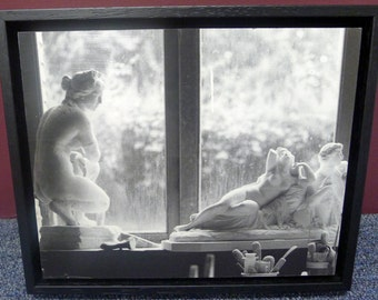 Custom Framed, Black & White Photograph mounted on wood.