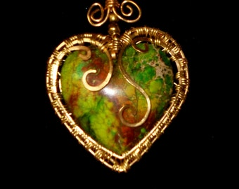Beautiful Green Sea sediment gemstone wire wrapped heart pendant necklace in brass on brass chain, made in USA, handmade, Boho
