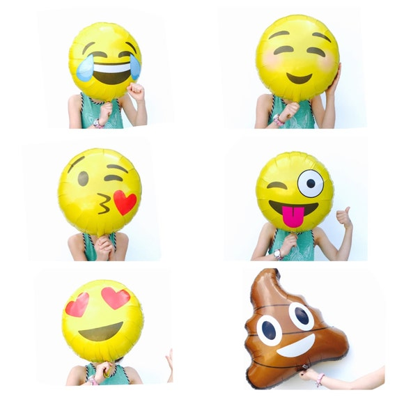 """Emoji Balloons, TONGUE WINK, Emoticon Balloon, 18"""", Poop"""