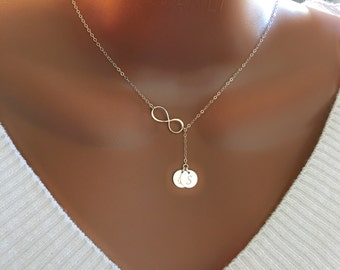 Sterling silver necklace, Sterling silver infinity lariat with Two initial disc charm, personalized monogram letter