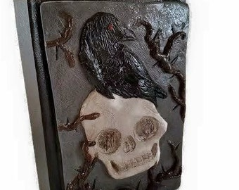 Skull Journal, Gothic Journal, Journal, Gothic notebook, Notebook, Polymer clay journal, clay journal, raven journal, raven, polymer clay