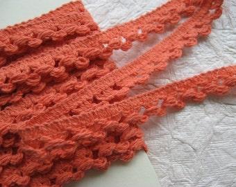PER METRE Cotton Crochet Lace Trim in Orange Coral width 9mm with picot edge