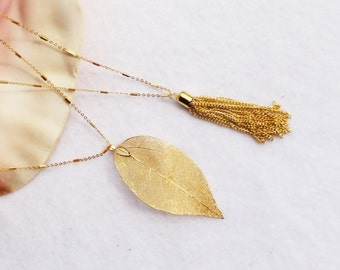 Tassel Necklace, Gold Leaf Necklace, Gold Chain Pendant Necklace, Gold Necklace, Gold Leaf Pendant, Chain Tassel Pendant,