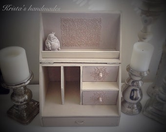 Vintage style beige painted desk organizer with drawers