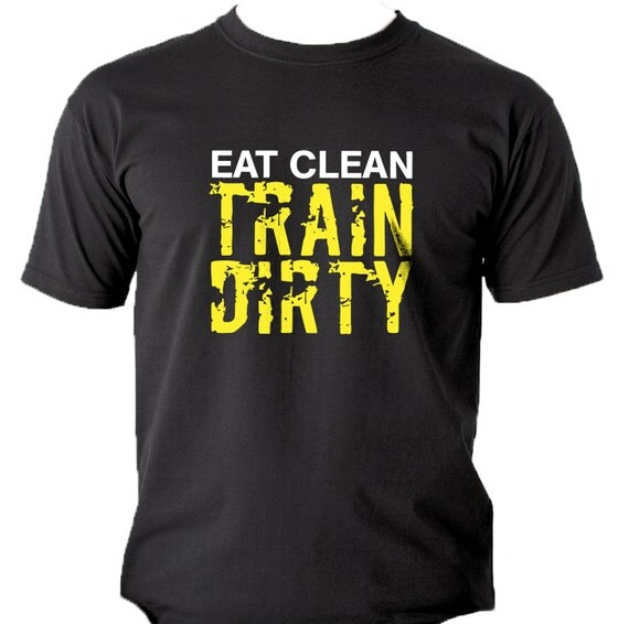 Kettlebell University T Shirt: Eat Clean Train Dirty Men's T-Shirt. Gym Workout Crossfit