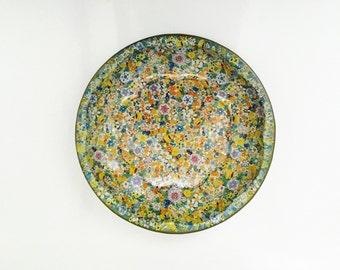 1971 Vintage Daher Tin Bowl, Flower Tin Serving Bowl.