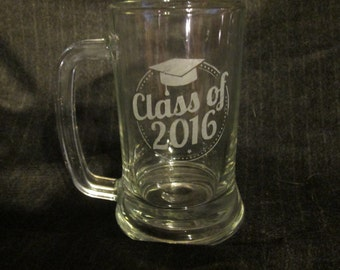 Class of 2016 Graduation Etched Glass Beer Mug