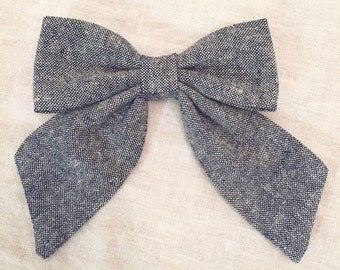 The Charlotte Sailor Bow - Hair Bow - Toddler/Girl - Cotton, Linen - Denim