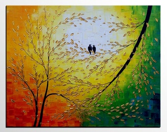 Love Birds Painting, Canvas Art, Original Oil Painting, Abstract Art, Canvas Painting, Oil Painting, Wall Art, Abstract Painting, Large Art