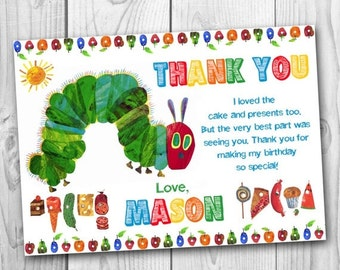 ON SALE 35% Very Hungry Caterpillar Thank You Card - Very Hungry Caterpillar Thank You Note - Very Hungry Caterpillar Thank You