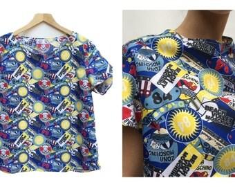 Moschino pattern Woven Boxy Top / Oversized dolman sleeve top / Moschino pattern Woven Shirt