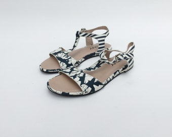 DKNY Leather Ankle Strap Sandals / Ankle Strap Shoes / White and blue Flat Sandals / DKNY flat sandals / Flat colored sandals