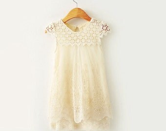 flower girl dress, ivory cream baby girl dress, Ivory lace flower girl dress,baby dress, girl dress, baptism dress size 12 months-12