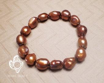 Baroque brown Pearl bracelet freshwater pearl bracelet,brown pearl bracelet 9-12mm baroque pearl bracelet