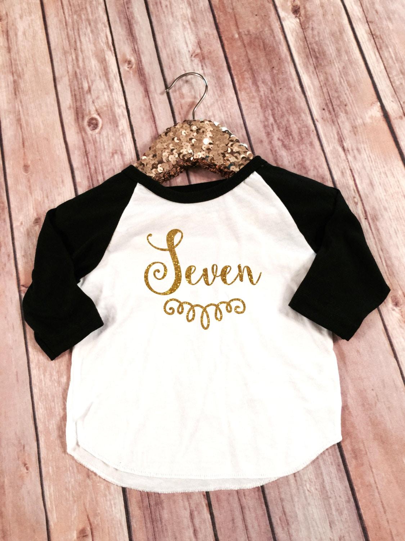 Black t shirt for babies - Seven 7th Birthday Black Sleeved Raglan Shirt Birthday Shirt Baby Girl 7th Birthday Shirt Girl