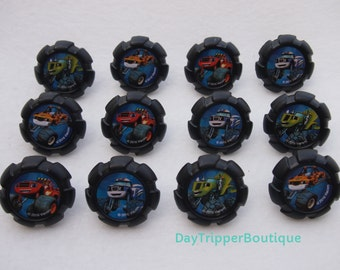 24 Blaze and the Monster Machines Cupcake Ring Favor Supplies Rings Topper Birthday
