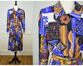 80s Dress, Vintage Clothing, 80s Clothing, 80s Clothes, Psychedelic, Pleated Dress, Print Dress, Vintage Dress, Shoulder Pads, Skater, Retro