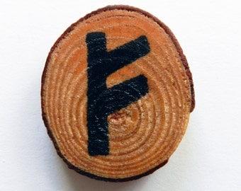 """Handmade Pine Wood  Chip """"Wealth"""" Rune Fridge Magnet, Christmas Gift, Gift for Her, Handmade Gift, Handcrafted Gift"""