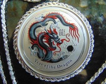 Limited Mintage Colorized Year of the Dragon Silver Necklace, Sterling Silver Necklace Read Description