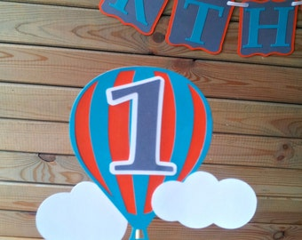 Hot Air Balloon Cake Topper - up up & away party - personalized - party supplies - cake decorations
