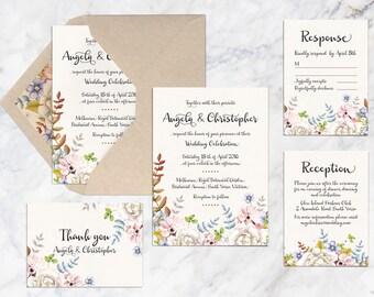 Printable Wedding Invitation Set, Flower Watercolor Wedding Invitation, Garden Theme Wedding Invitation, Summer Spring Autumn Wedding